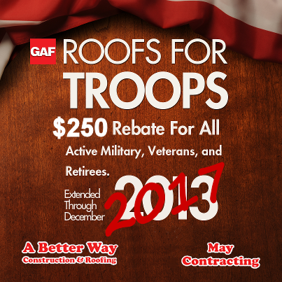 We support GAF Roofs for Troops program